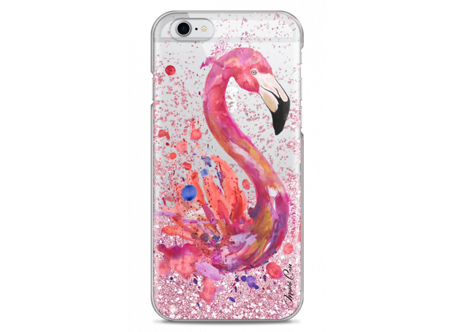 Coque iPhone 6/6S Pink glitter Watercolor summer flamingo pattern