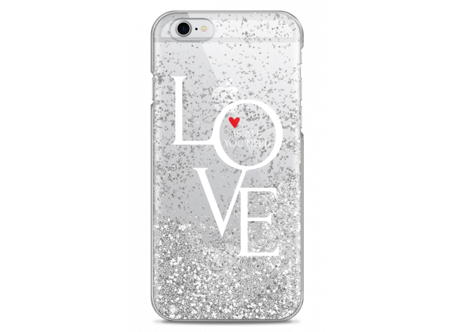 Coque iPhone 6Plus/6SPlus Silver glitter Love is all you need