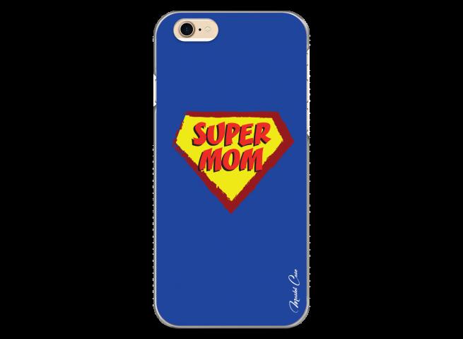 Coque iPhone 6/6S Super Mom - blue design