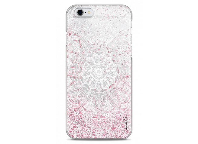 Coque iPhone 6/6S Pink glitter - white Mandala