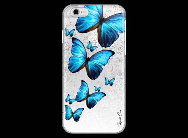 Coque iPhone 6/6S Silver glitter Blue beautiful butterflies