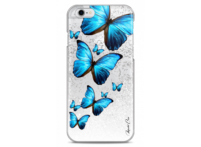 Coque iPhone 6Plus/6SPlus Silver glitter Blue beautiful butterflies