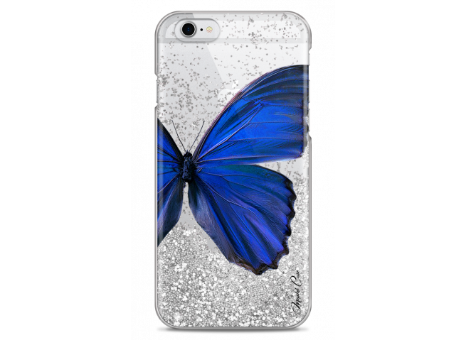 Coque iPhone 6/6S Silver glitter Blue butterfly