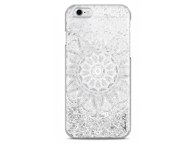 Coque iPhone 6Plus/6SPlus Silver glitter - white Mandala