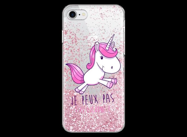 Coque iPhone 7/8 Pink glitter J'ai Licorne