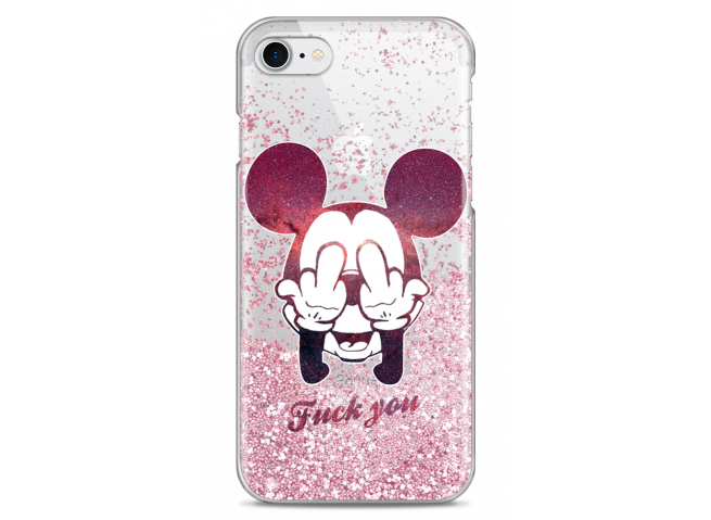 Coque iPhone 7/8 Pink glitter Mickey Mouse message