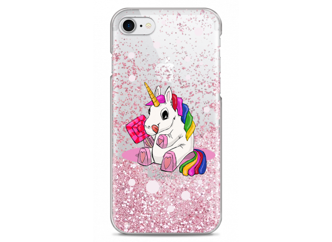 Coque iPhone 7/8 Pink glitter Sweet Baby Licorne