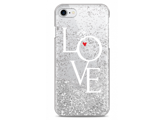 Coque iPhone 7Plus/8Plus Silver glitter Love is all you need