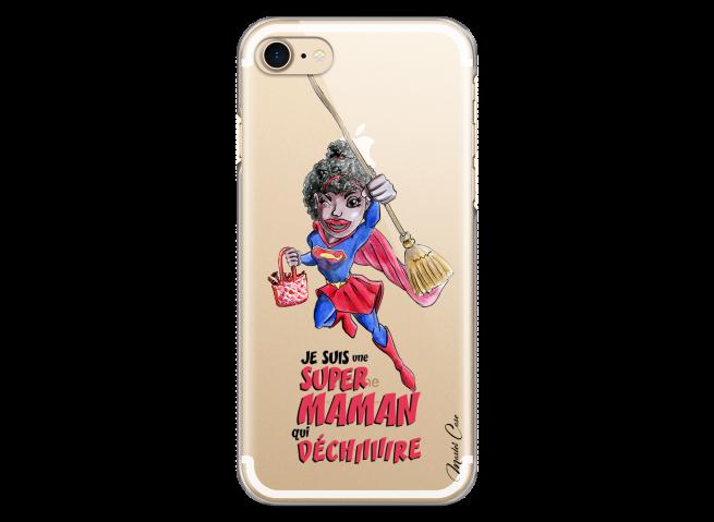 Coque iPhone 7/8 Super Maman qui déchire- black watercolor design