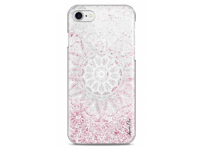 Coque iPhone 7Plus/8Plus Pink glitter - white Mandala
