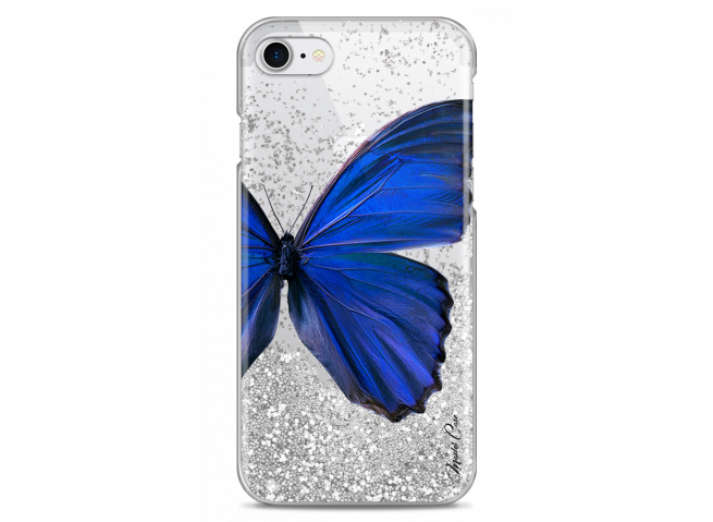 Coque iPhone 7/8 Silver glitter Blue butterfly