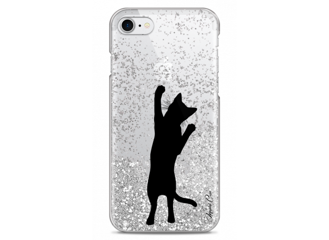 Coque iPhone 7/8 Silver glitter Cat let's play together
