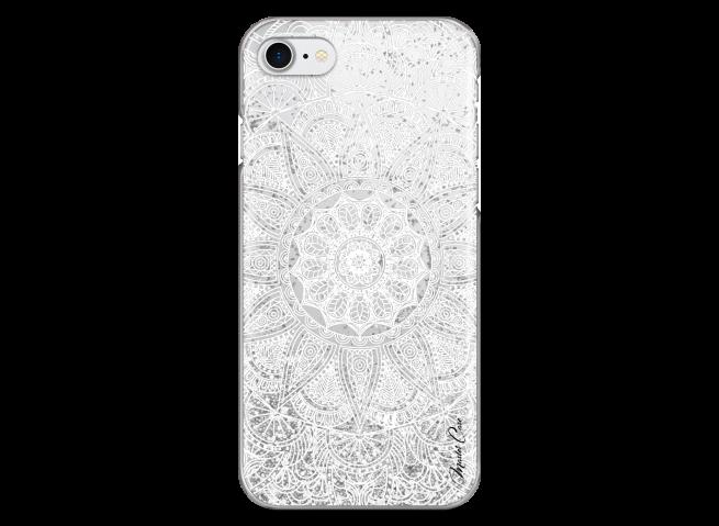 Coque iPhone 7/8 Silver glitter - white Mandala