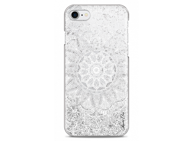 Coque iPhone 7Plus/8Plus Silver glitter - white Mandala