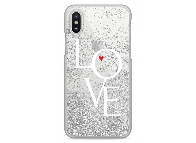Coque iPhone X Silver glitter Love is all you need