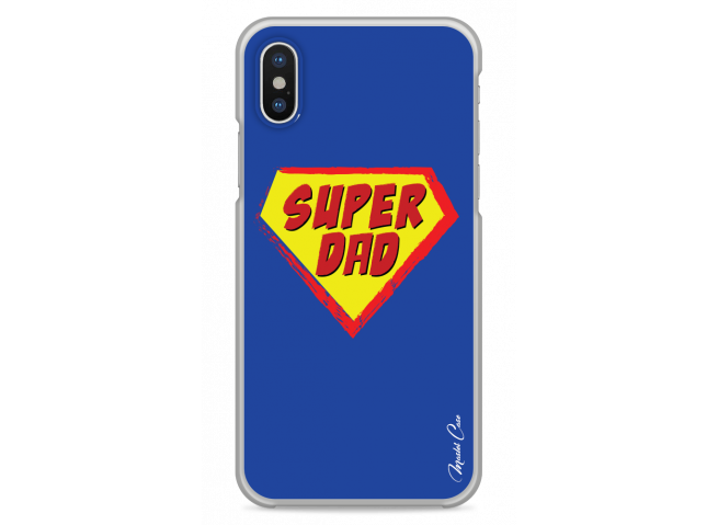 Coque iPhone XS MAX  Super Dad - blue design