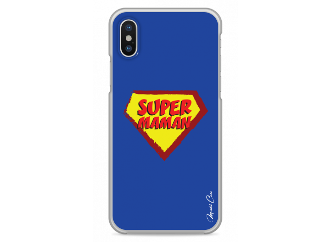 Coque iPhone X Super Maman - blue design