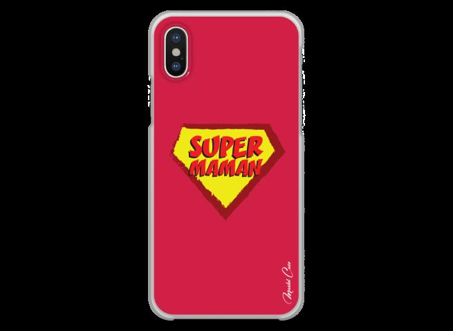 Coque iPhone X Super Maman - red design