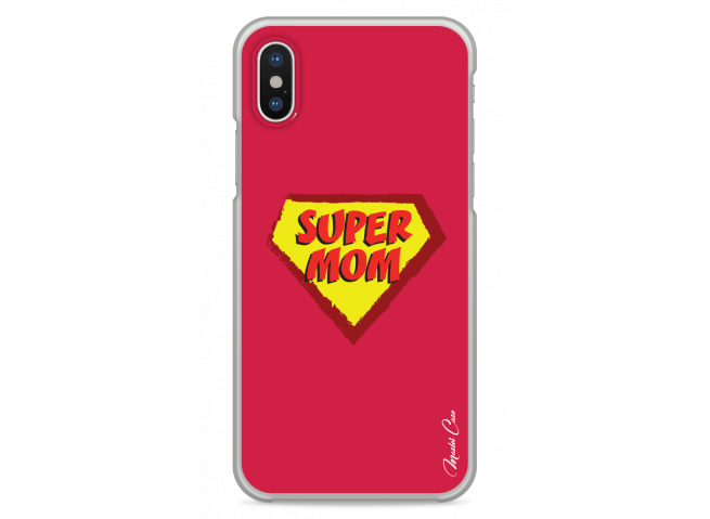 Coque iPhone X Super Mom - red design