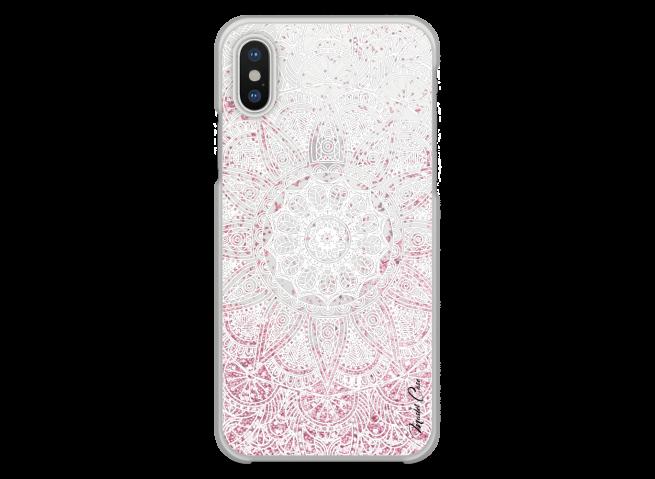 Coque iPhone X Pink glitter - white Mandala