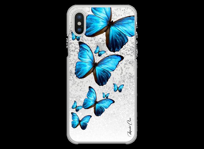 Coque iPhone X Silver glitter Blue beautiful butterflies