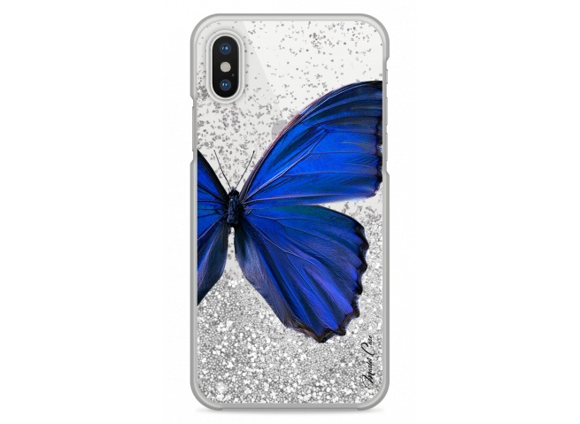 Coque iPhone X Silver glitter Blue butterfly