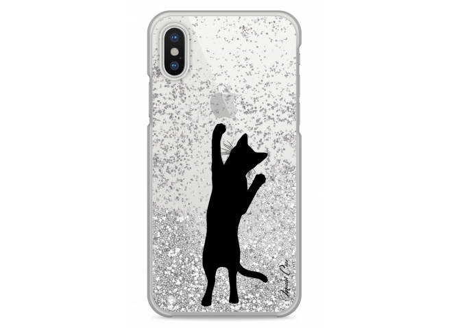 Coque iPhone X Silver glitter Cat let's play together