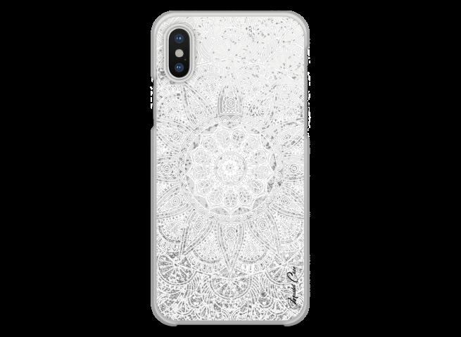 Coque iPhone X Silver glitter - white Mandala