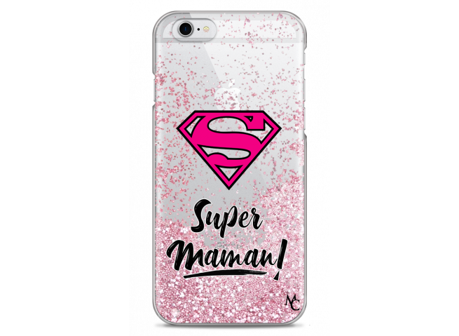 Coque iPhone 6/6S Pink Glitter Super Maman
