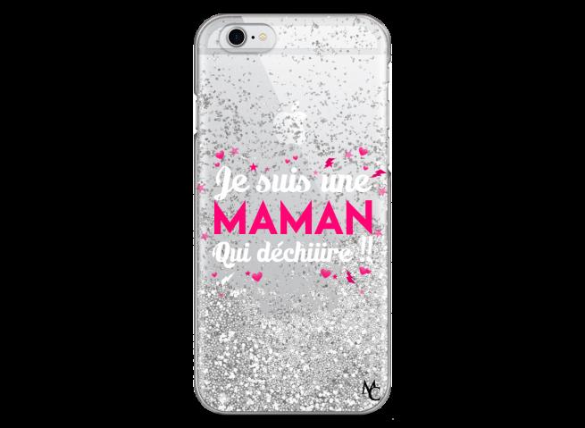Coque iPhone 6/6S Silver Glitter Je suis une Maman qui Déchire