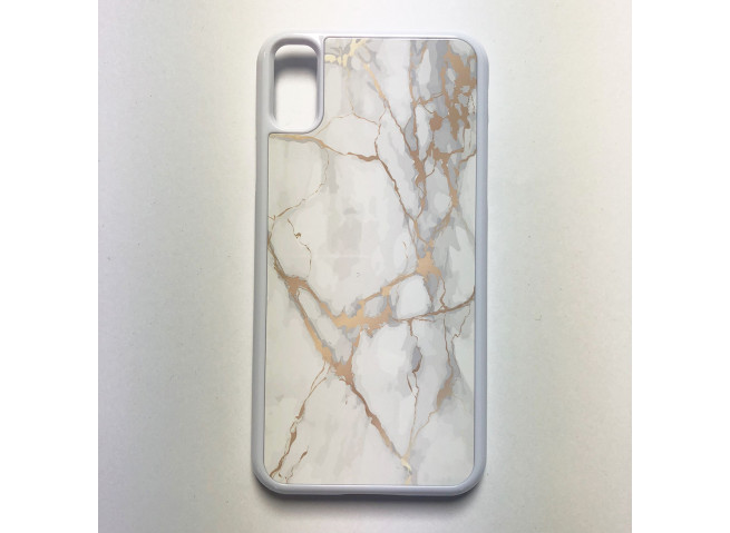 Coque iPhone X/XS Texture Marbre Blanc et Or