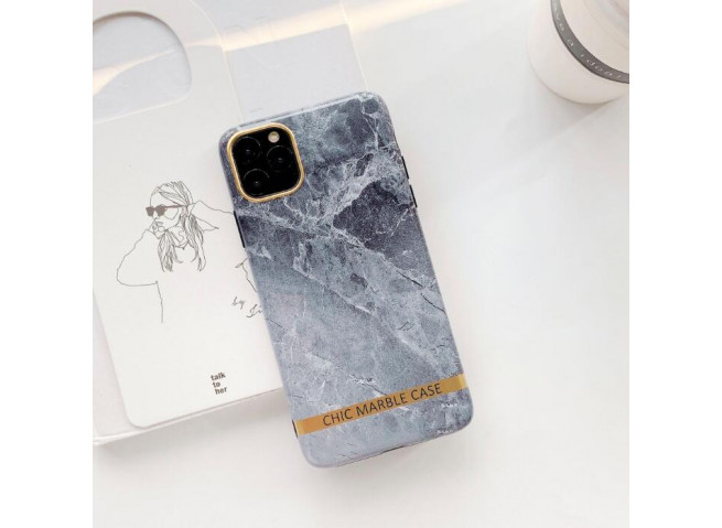 Coque iPhone 12/12 Pro Silicone Marble Grey