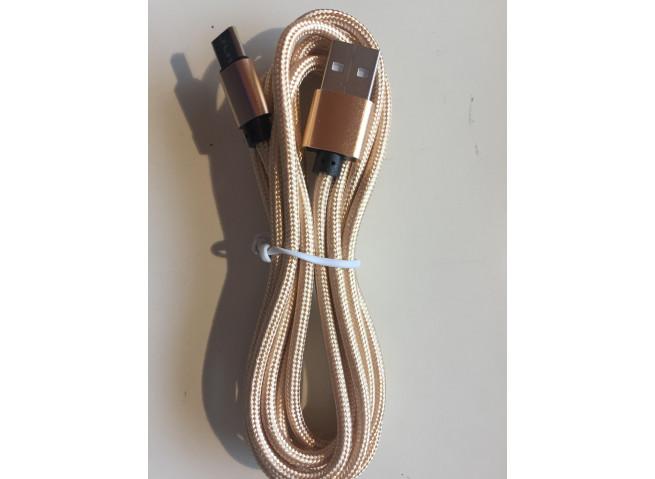 Câble microUSB-C - 3 Mètres - nylon Gold