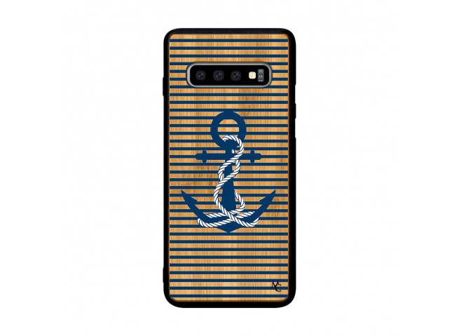 Coque Samsung Galaxy S10 Plus Ancre Bois Bamboo