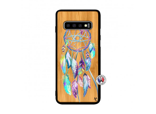 Coque Samsung Galaxy S10 Plus Blue Painted Dreamcatcher Bois Bamboo