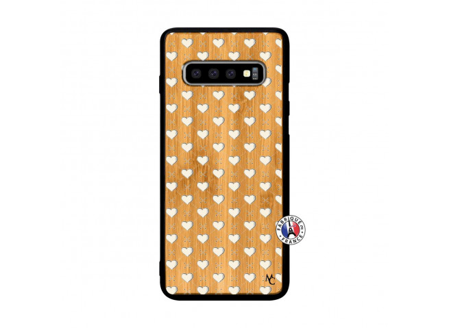Coque Samsung Galaxy S10 Plus Little Hearts Bois Bamboo
