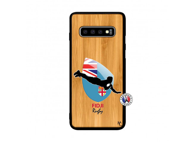 Coque Samsung Galaxy S10 Plus Coupe du Monde Rugby Fidji Bois Bamboo