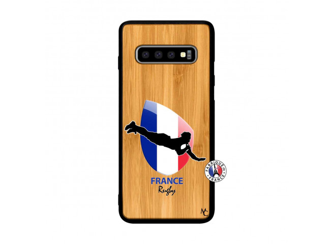 Coque Samsung Galaxy S10 Plus Coupe du Monde de Rugby-France Bois Bamboo