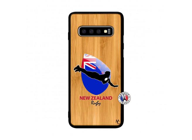 Coque Samsung Galaxy S10 Plus Coupe du Monde Rugby- Nouvelle Zélande Bois Bamboo