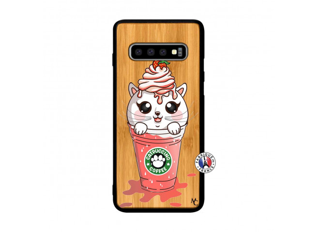 Coque Bois Samsung Galaxy S10 Catpucino Ice Cream Smoothie