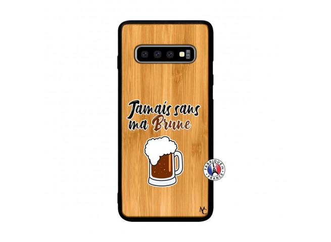 Coque Samsung Galaxy S10 Jamais Sans Ma Brune Bois Bamboo