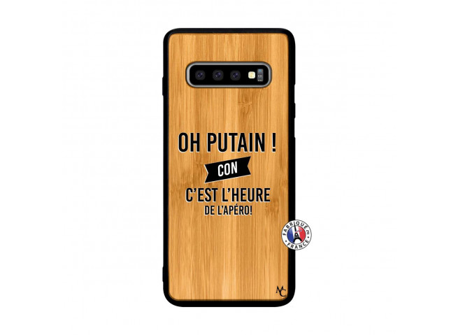 Coque Samsung Galaxy S10 Oh Putain C Est L Heure De L Apero Bois Bamboo
