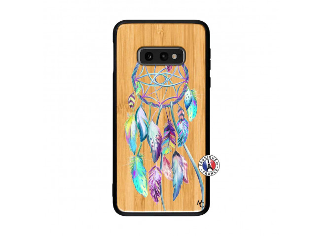 Coque Samsung Galaxy S10e Blue Painted Dreamcatcher Bois Bamboo