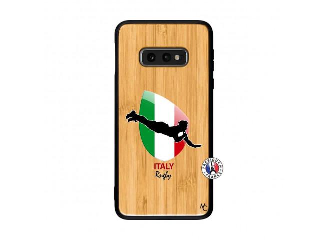 Coque Samsung Galaxy S10e Coupe du Monde Rugby-Italy Bois Bamboo