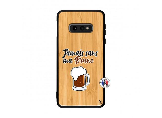 Coque Samsung Galaxy S10e Jamais Sans Ma Brune Bois Bamboo
