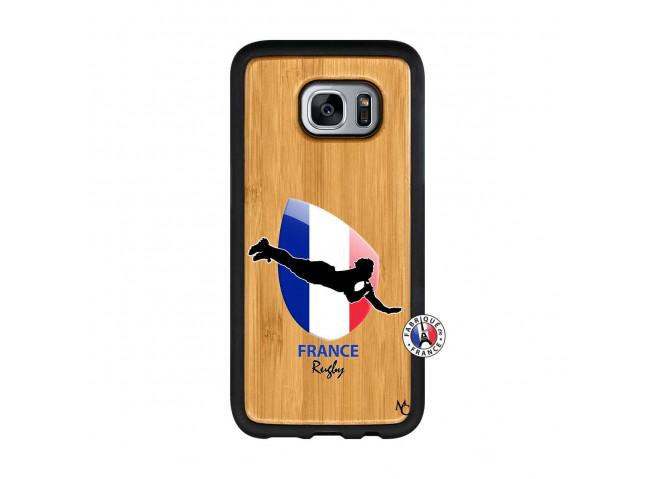 Coque Samsung Galaxy S7 Edge Coupe du Monde de Rugby-France Bois Bamboo