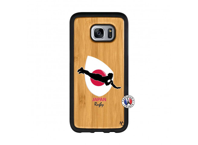 Coque Samsung Galaxy S7 Edge Coupe du Monde Rugby-Japan Bois Bamboo
