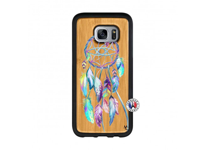 Coque Samsung Galaxy S7 Blue Painted Dreamcatcher Bois Bamboo