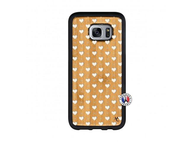 Coque Samsung Galaxy S7 Little Hearts Bois Bamboo