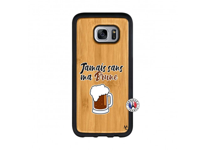 Coque Samsung Galaxy S7 Jamais Sans Ma Brune Bois Bamboo